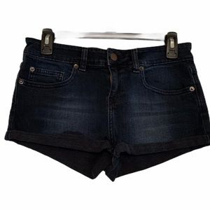 Topshop Moto Very Dark Wash Jean Short Shorts 28